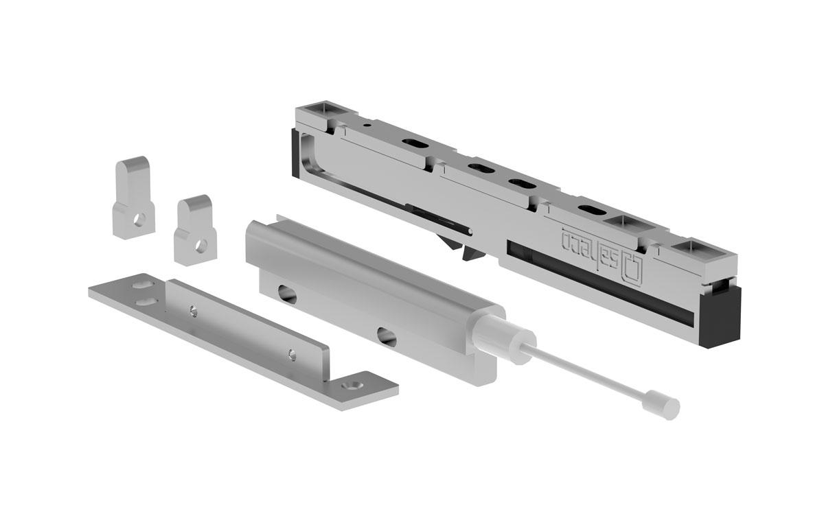 Herrajes puertas correderas Imagen 1 Freno con amortiguador para madera kit puertas correderas