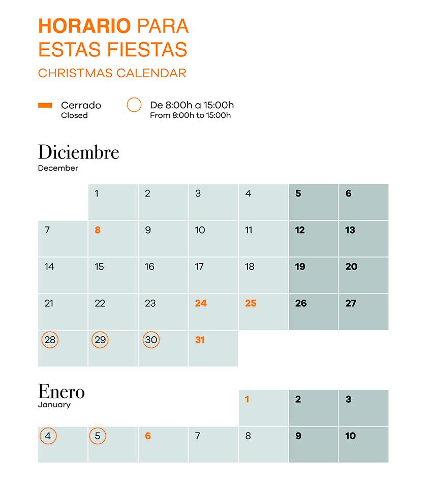 Calendario Saheco Diciembre 2020
