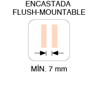 MIN. BETWEEN PANELS FLUSH-MOUNTABLE  7mm
